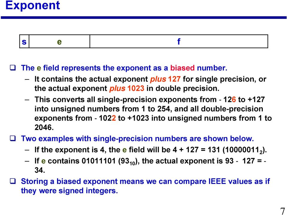 This converts all single-precision exponents from -126 to +127 into unsigned numbers from 1 to 254, and all double-precision exponents from -1022 to +1023 into unsigned
