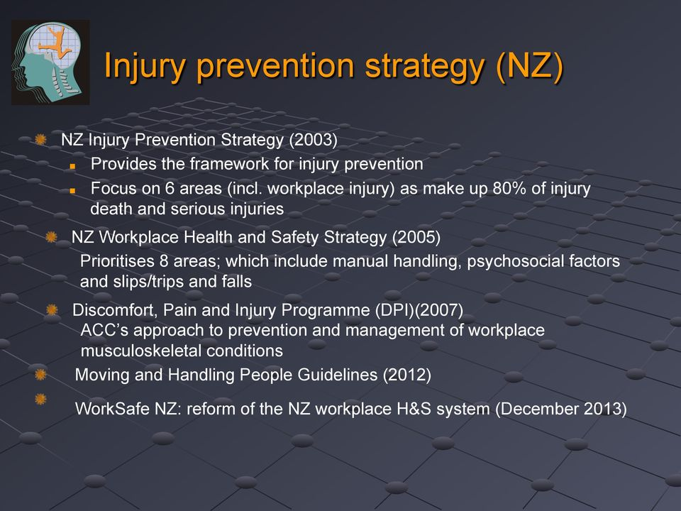 NZ Workplace Health and Safety Strategy (2005) Prioritises 8 areas; which include manual handling, psychosocial factors and slips/trips and falls!