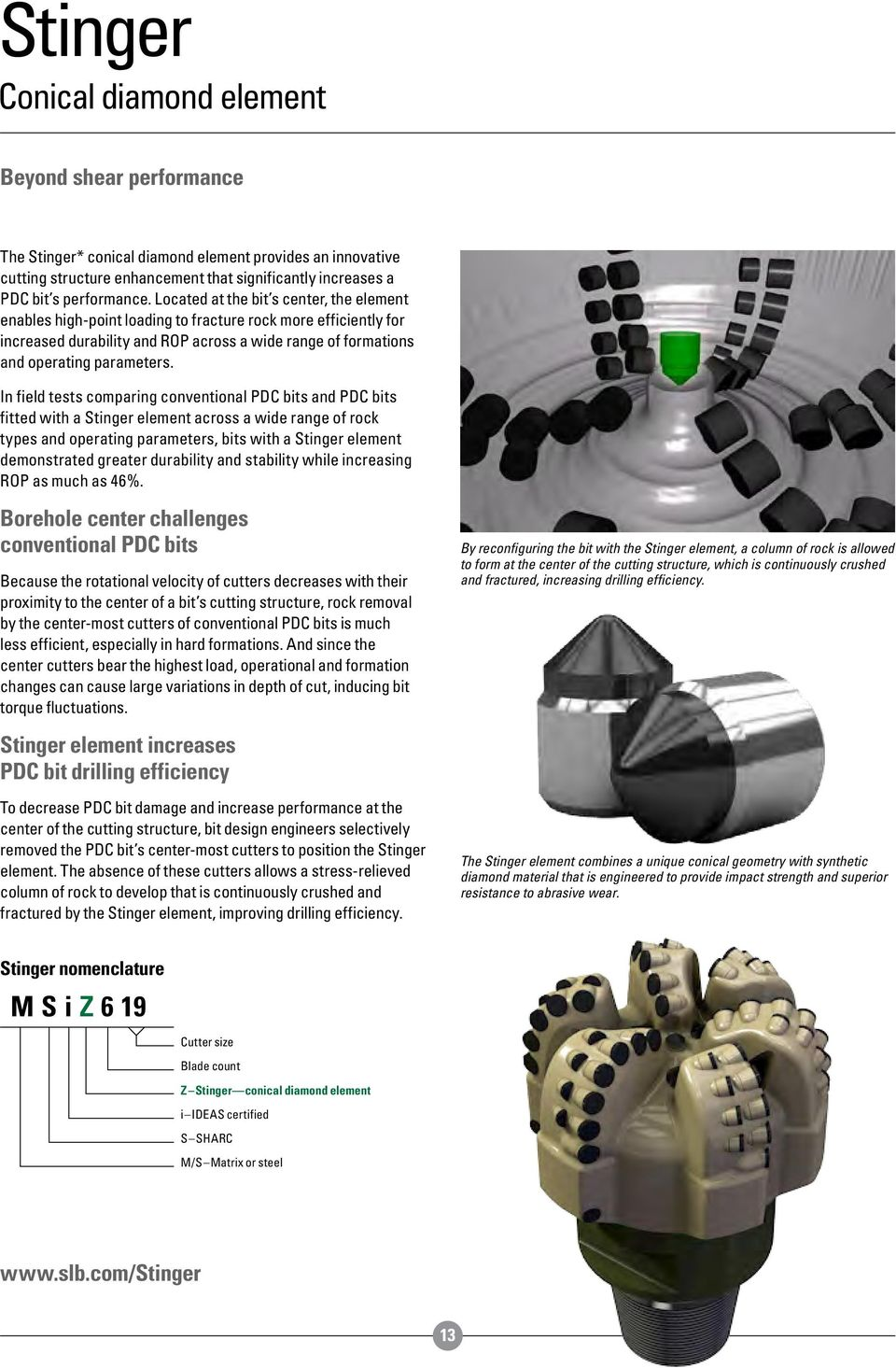 In field tests comparing conventional PDC bits and PDC bits fitted with a Stinger element across a wide range of rock types and operating parameters, bits with a Stinger element demonstrated greater