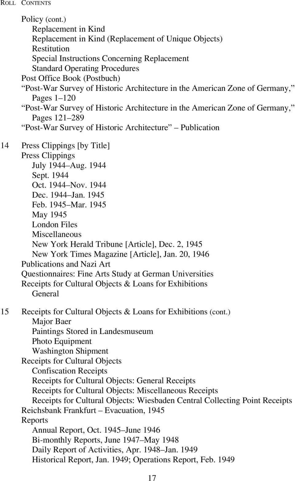 Survey of Historic Architecture in the American Zone of Germany, Pages 1 120 Post-War Survey of Historic Architecture in the American Zone of Germany, Pages 121 289 Post-War Survey of Historic