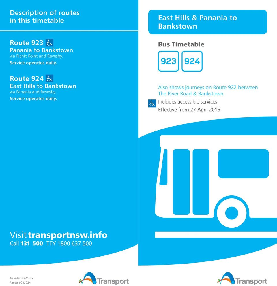 East Hills & Panania to Bankstown Bus Timetable 923 924 Route 924 East Hills to Bankstown via Panania and Revesby.