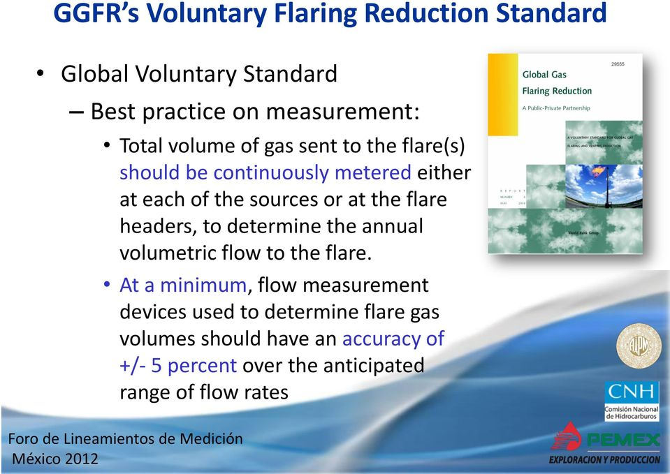 flare headers, to determine the annual volumetric flow to the flare.
