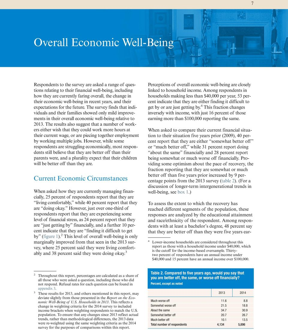 The survey finds that individuals and their families showed only mild improvements in their overall economic well-being relative to 2013.