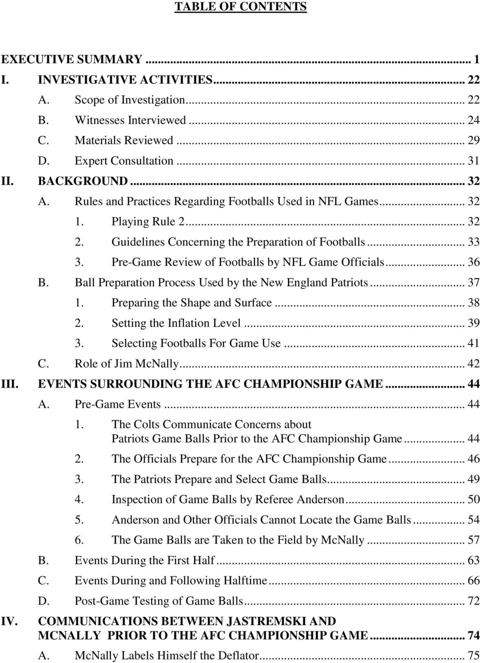 Pre-Game Review of Footballs by NFL Game Officials... 36 B. Ball Preparation Process Used by the New England Patriots... 37 1. Preparing the Shape and Surface... 38 2. Setting the Inflation Level.