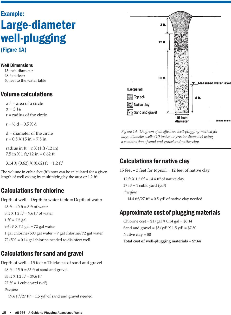 2 ft 2 The volume in cubic feet (ft 3 ) now can be calculated for a given length of well casing by multiplying by the area or 1.2 ft 2. Calculations for chlorine Depth of well Depth to water table = Depth of water 48 ft 40 ft = 8 ft of water 8 ft X 1.