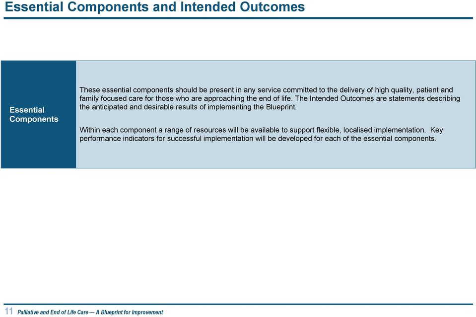 The Intended Outcomes are statements describing the anticipated and desirable results of implementing the Blueprint.