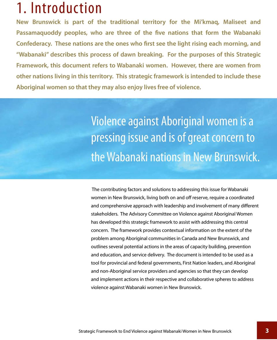 For the purposes of this Strategic Framework, this document refers to Wabanaki women. However, there are women from other nations living in this territory.
