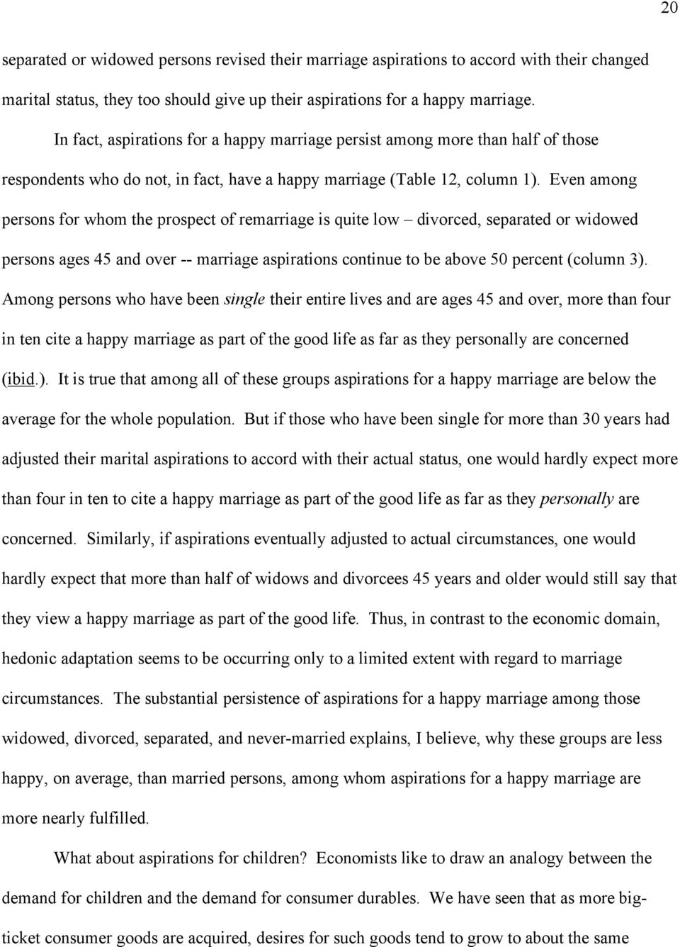 Even among persons for whom the prospect of remarriage is quite low divorced, separated or widowed persons ages 45 and over -- marriage aspirations continue to be above 50 percent (column 3).