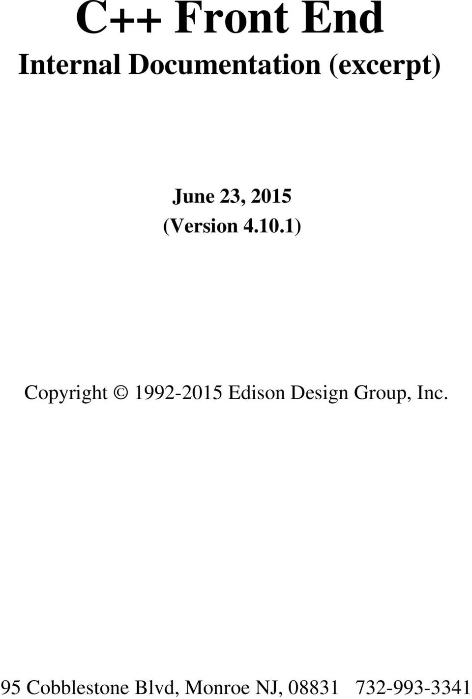 1) Copyright 1992-2015 Edison Design Group,
