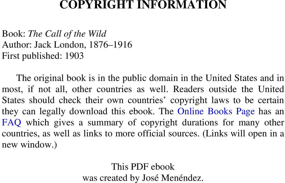 Readers outside the United States should check their own countries copyright laws to be certain they can legally download this ebook.