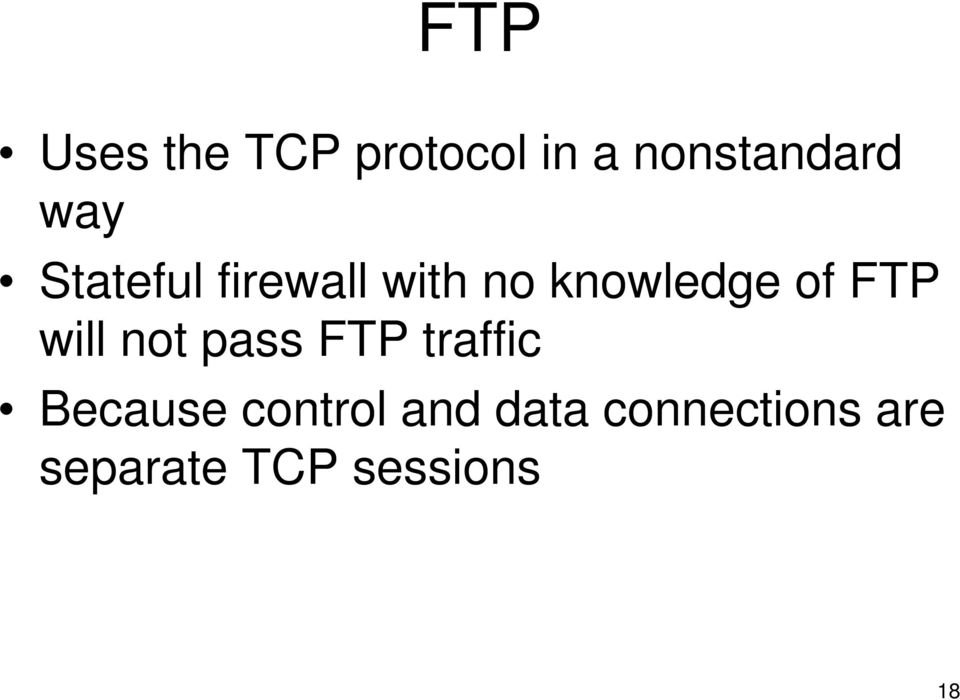FTP will not pass FTP traffic Because control