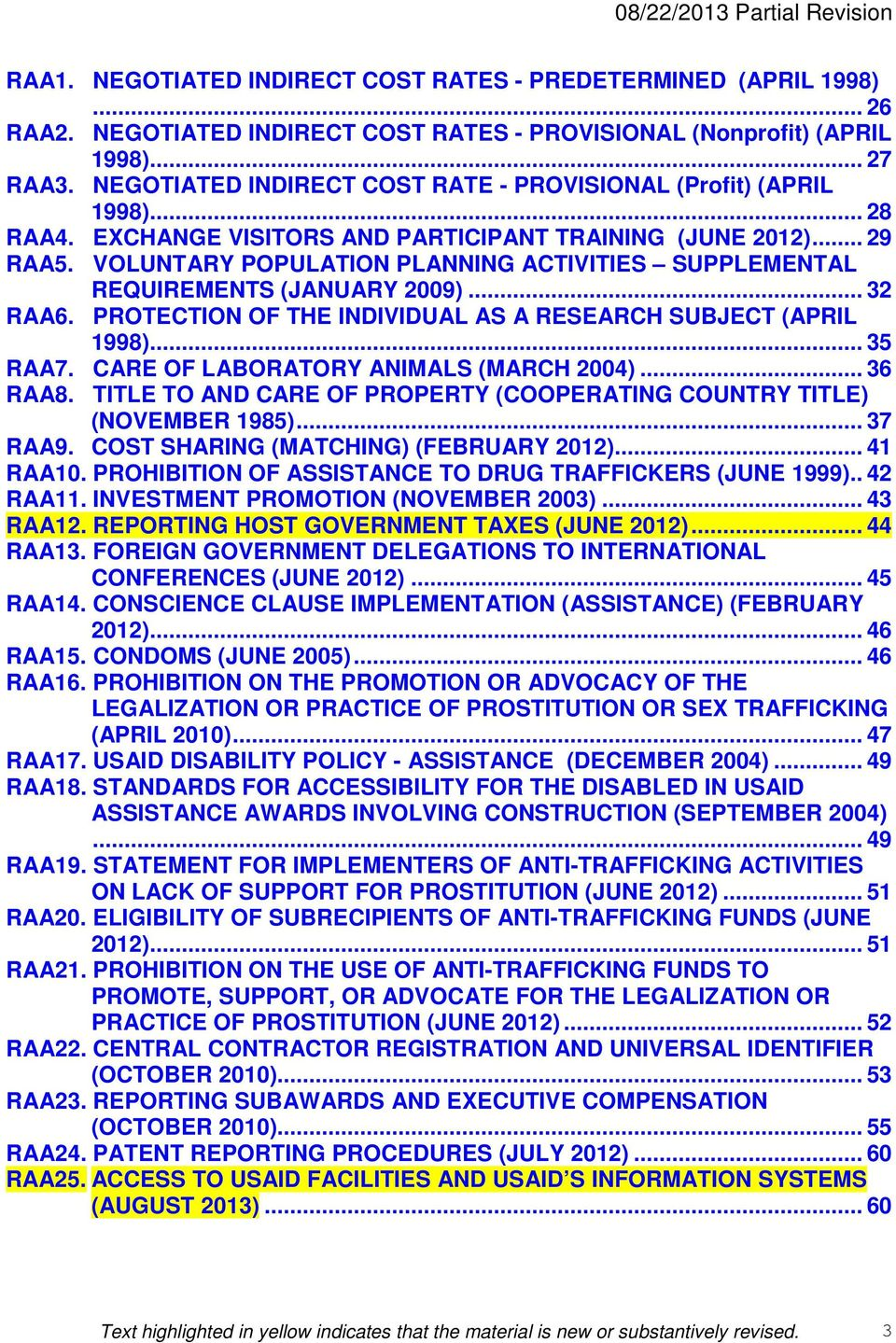 VOLUNTARY POPULATION PLANNING ACTIVITIES SUPPLEMENTAL REQUIREMENTS (JANUARY 2009)... 32 RAA6. PROTECTION OF THE INDIVIDUAL AS A RESEARCH SUBJECT (APRIL 1998)... 35 RAA7.