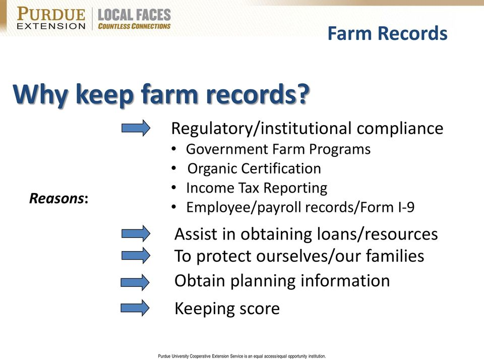 Organic Certification Income Tax Reporting Employee/payroll records/form