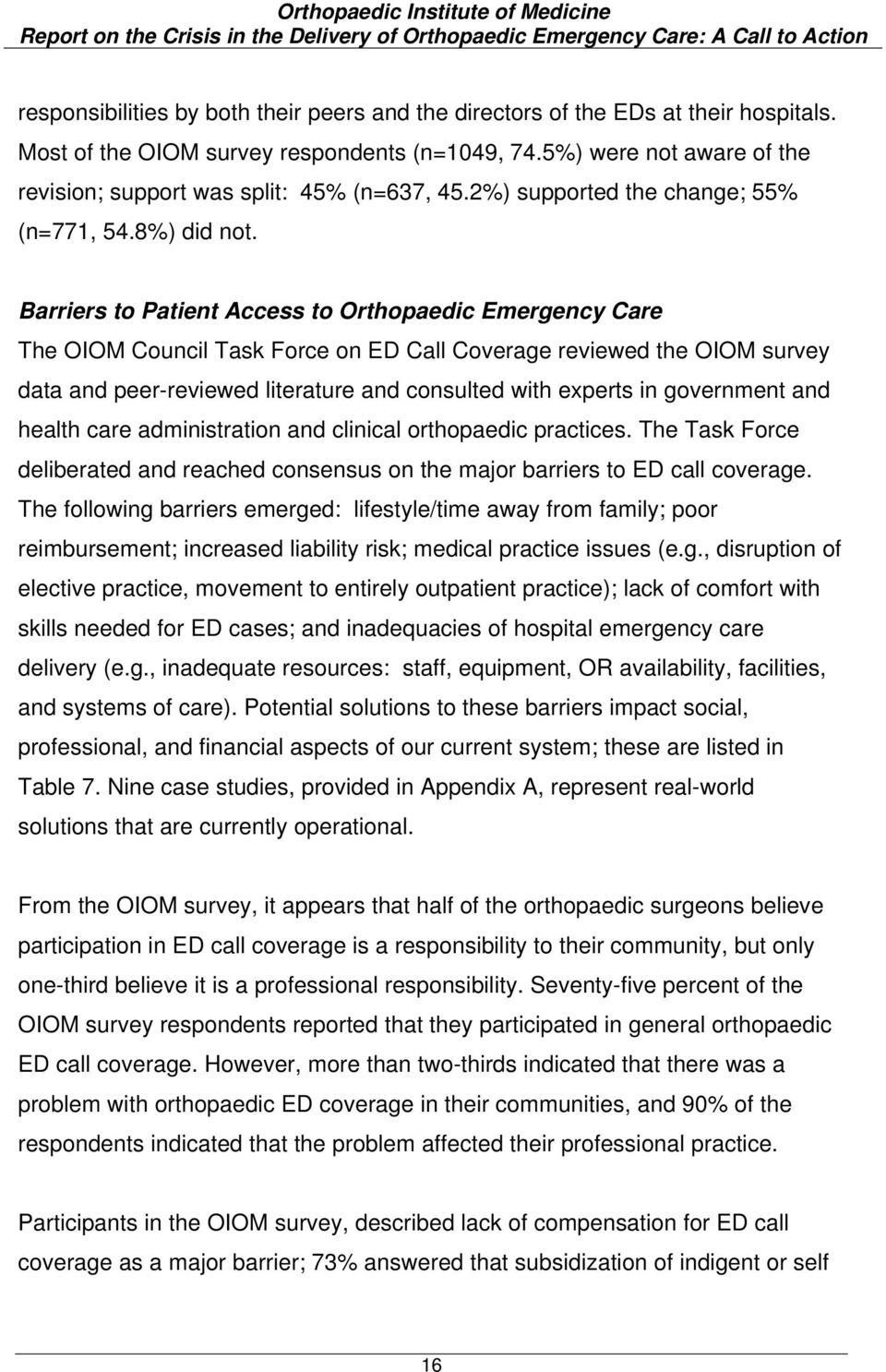 Barriers to Patient Access to Orthopaedic Emergency Care The OIOM Council Task Force on ED Call Coverage reviewed the OIOM survey data and peer-reviewed literature and consulted with experts in