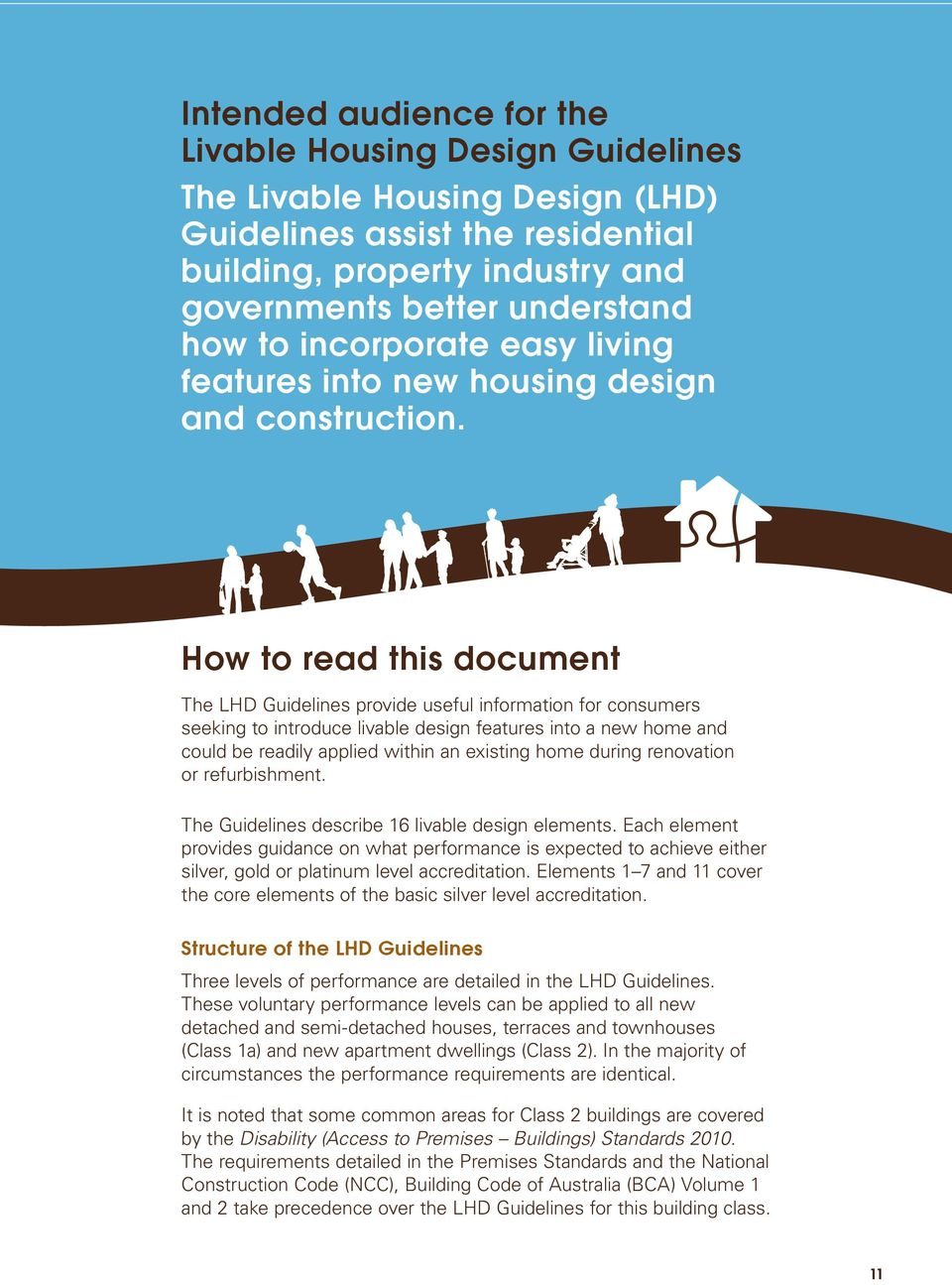 How to read this document The LHD Guidelines provide useful information for consumers seeking to introduce livable design features into a new home and could be readily applied within an existing home