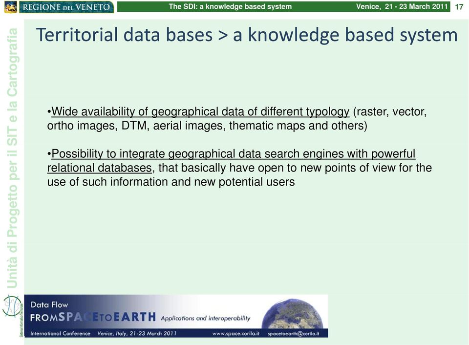 Possibility to integrate geographical data search engines with powerful relational databases,