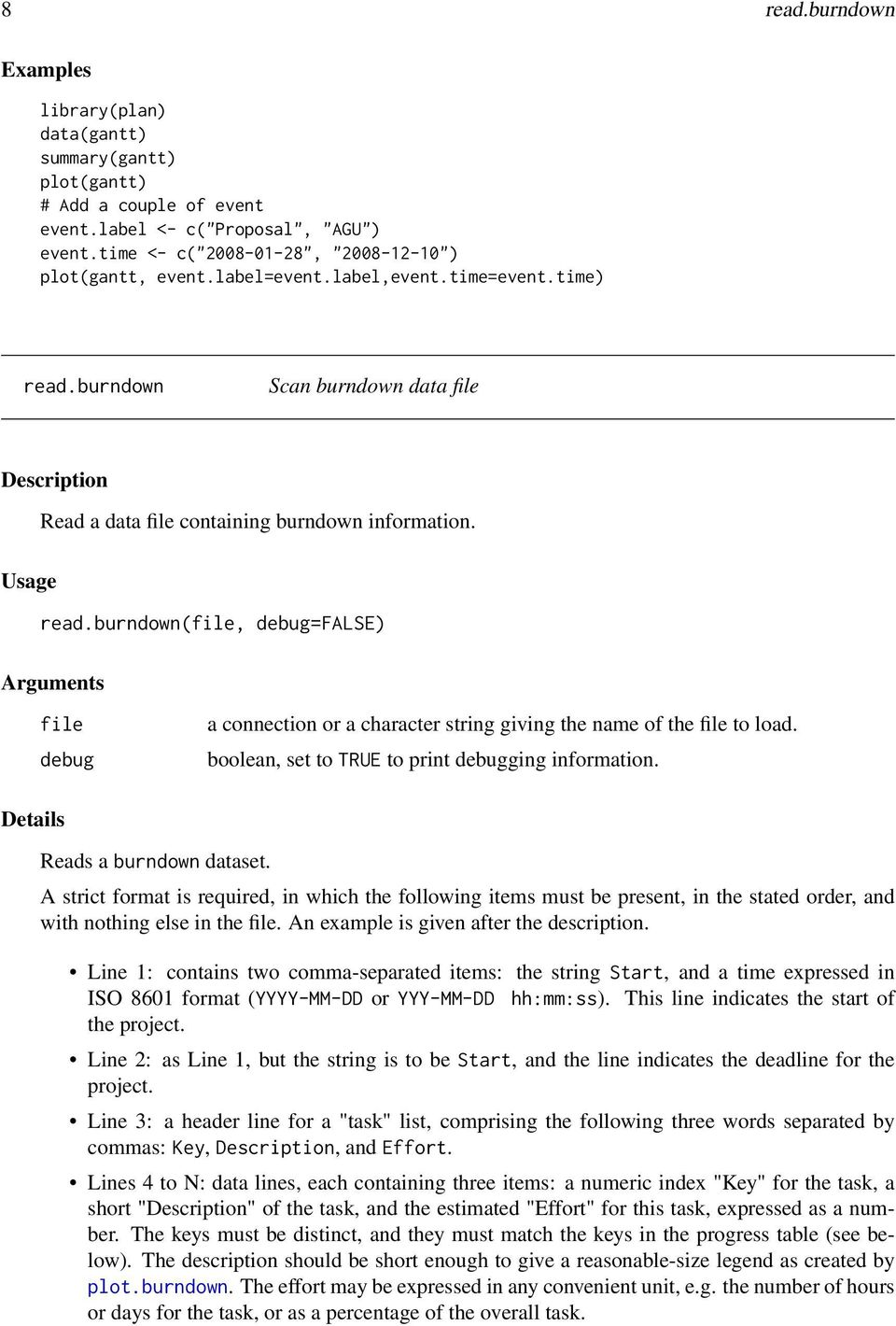 boolean, set to TRUE to print debugging information. Details Reads a burndown dataset.