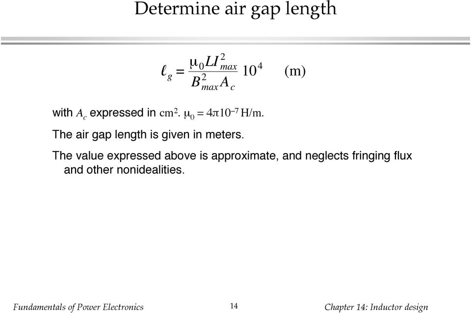 The air gap length is given in meters.