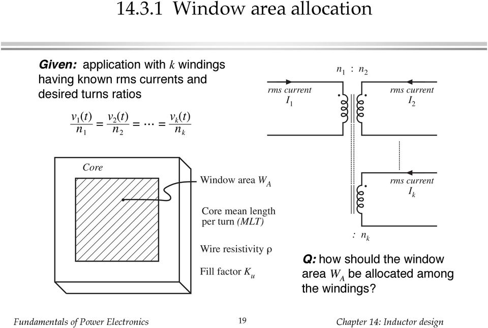 current I 2 Core Window area W A Core mean length per turn (MLT) Wire resistivity ρ Fill