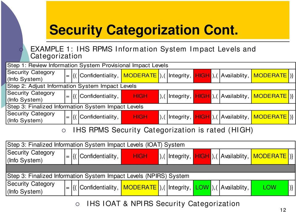 HIGH ),( Availablity, MODERATE )} (Info System) Step 2: Adjust Information System Impact Levels Security Category = {( Confidentiality, HIGH ),( Integrity, HIGH ),( Availablity, MODERATE )} (Info