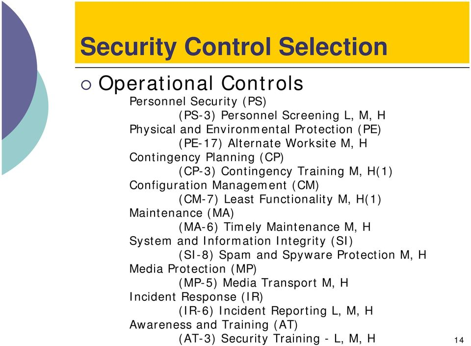 M, H(1) Maintenance (MA) (MA-6) Timely Maintenance M, H System and Information Integrity (SI) (SI-8) Spam and Spyware Protection M, H Media Protection