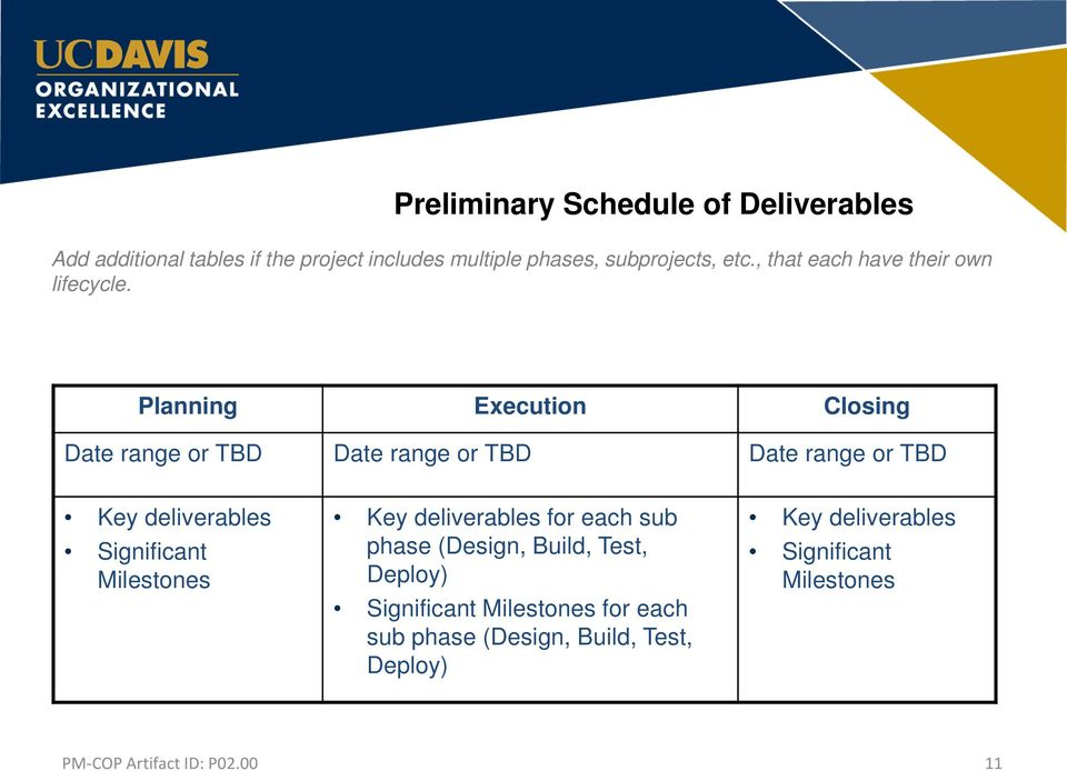 Planning Execution Closing Date range or TBD Date range or TBD Date range or TBD Key deliverables Significant