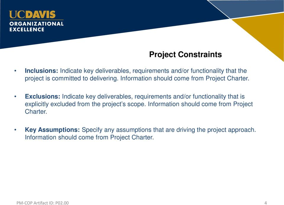 Exclusions: Indicate key deliverables, requirements and/or functionality that is explicitly excluded from the project s