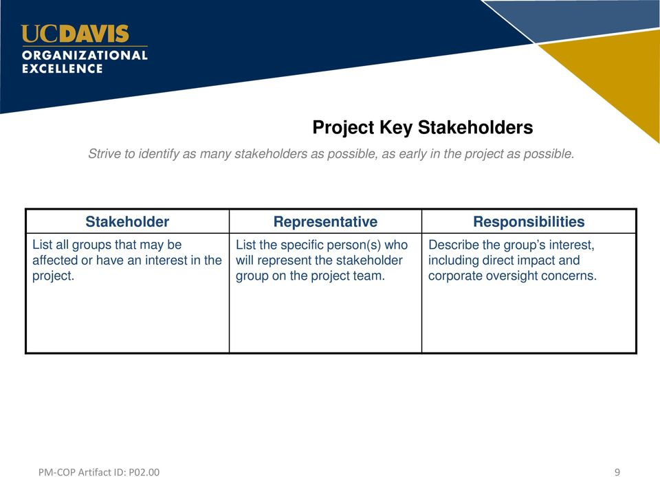 Stakeholder Representative Responsibilities List all groups that may be affected or have an interest
