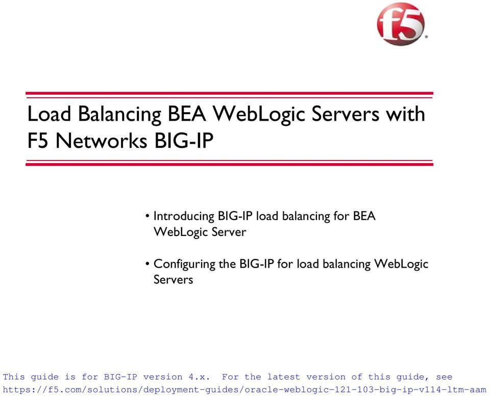 balancing for BEA WebLogic Server