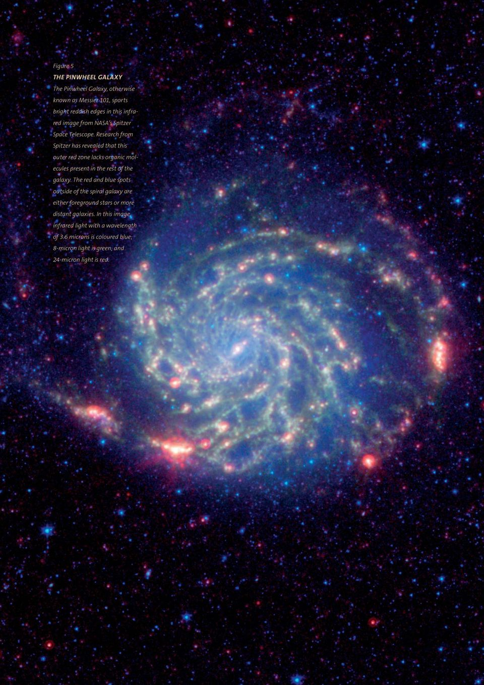 Research from Spitzer has revealed that this outer red zone lacks organic molecules present in the rest of the galaxy.