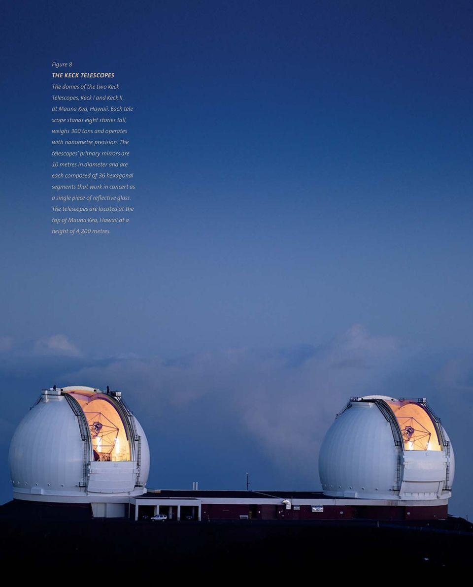 The telescopes primary mirrors are 10 metres in diameter and are each composed of 36 hexagonal segments that work