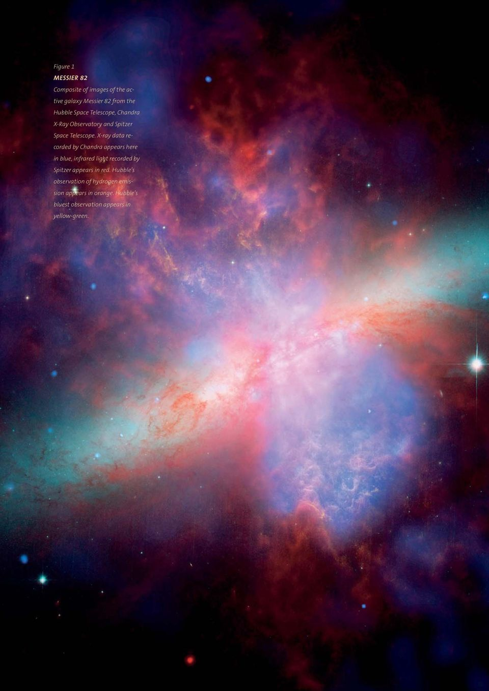 X-ray data recorded by Chandra appears here in blue, infrared light recorded by Spitzer