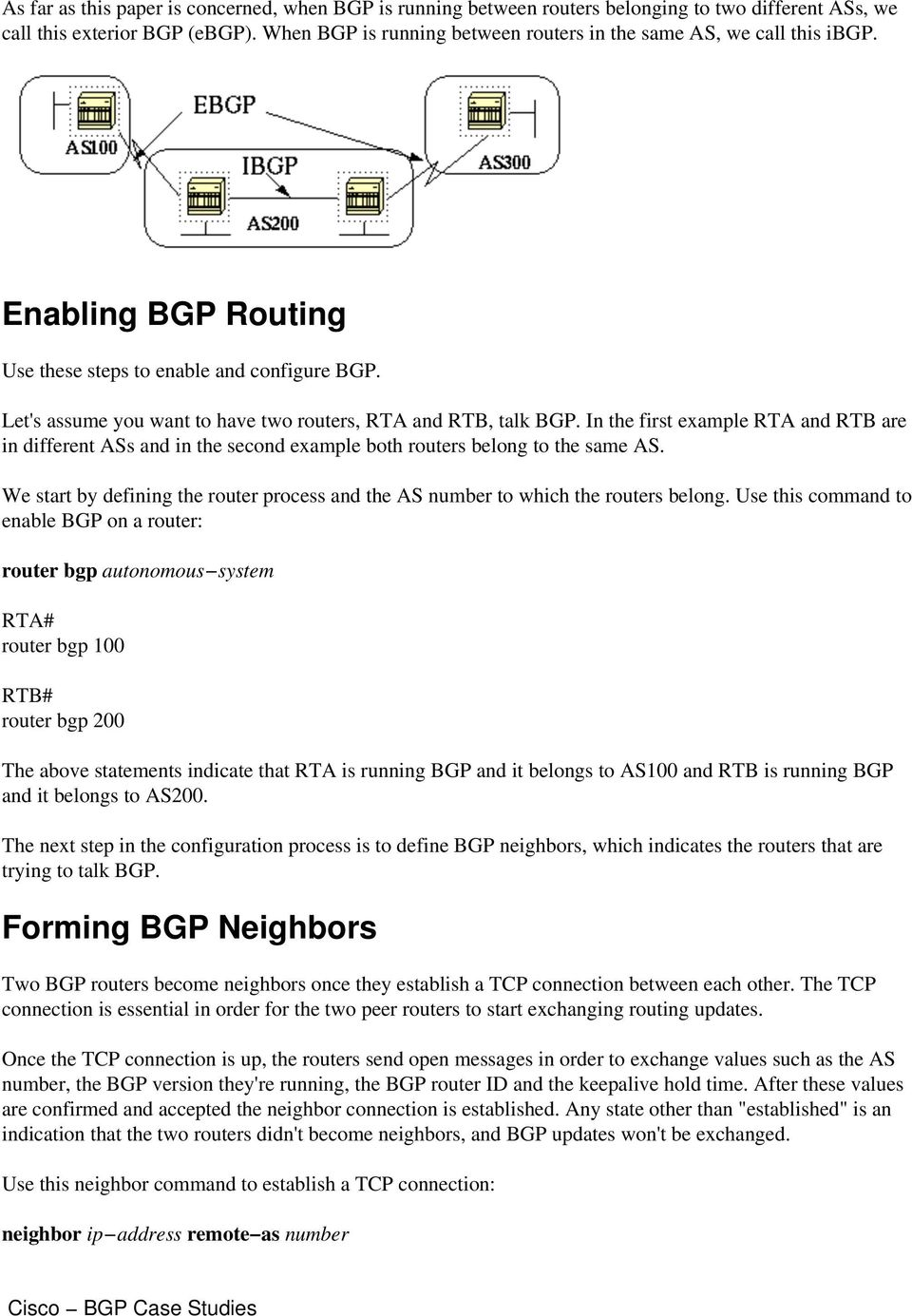Let's assume you want to have two routers, RTA and RTB, talk BGP. In the first example RTA and RTB are in different ASs and in the second example both routers belong to the same AS.