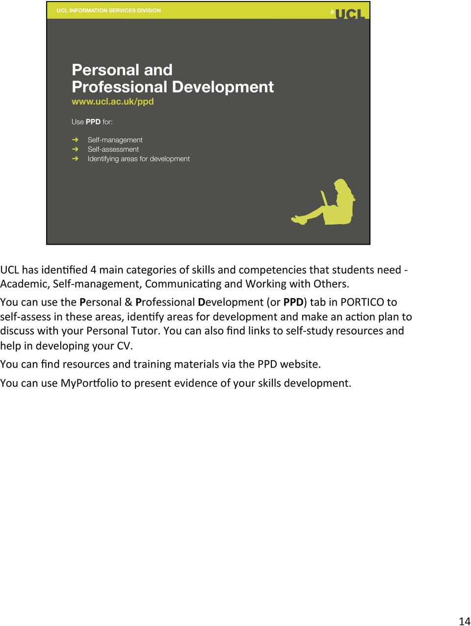 You can use the Personal & Professional Development (or PPD) tab in PORTICO to self- assess in these areas, iden,fy areas for development and