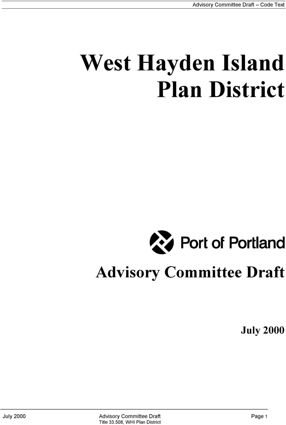 Committee Draft July 2000 July 2000