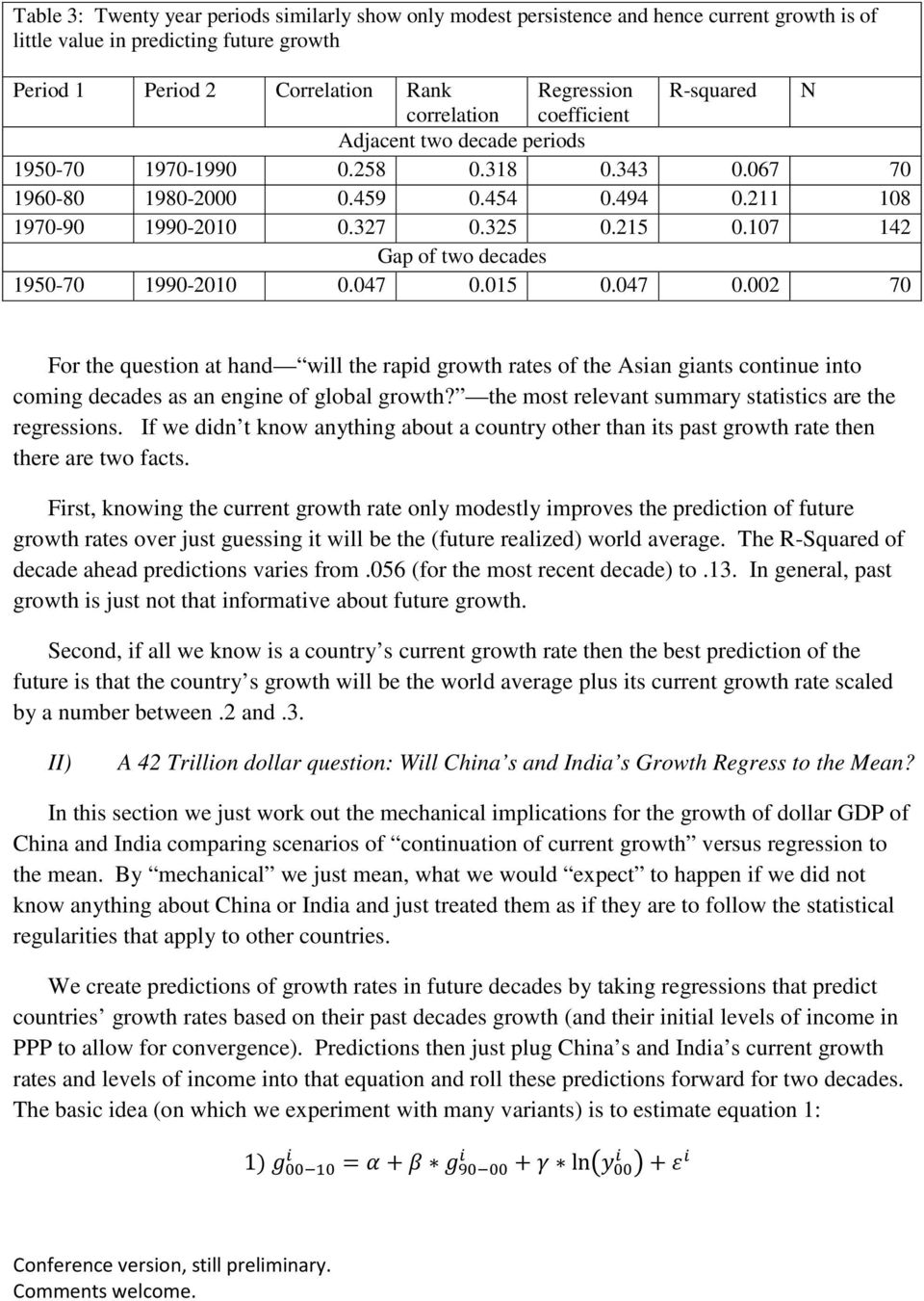 107 142 Gap of two decades 1950-70 1990-2010 0.047 0.015 0.047 0.002 70 For the question at hand will the rapid growth rates of the Asian giants continue into coming decades as an engine of global growth?