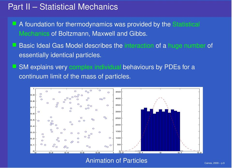 SM explains very complex individual behaviours by PDEs for a continuum limit of the mass of particles. 1 0.9 0.8 0.7 0.6 0.