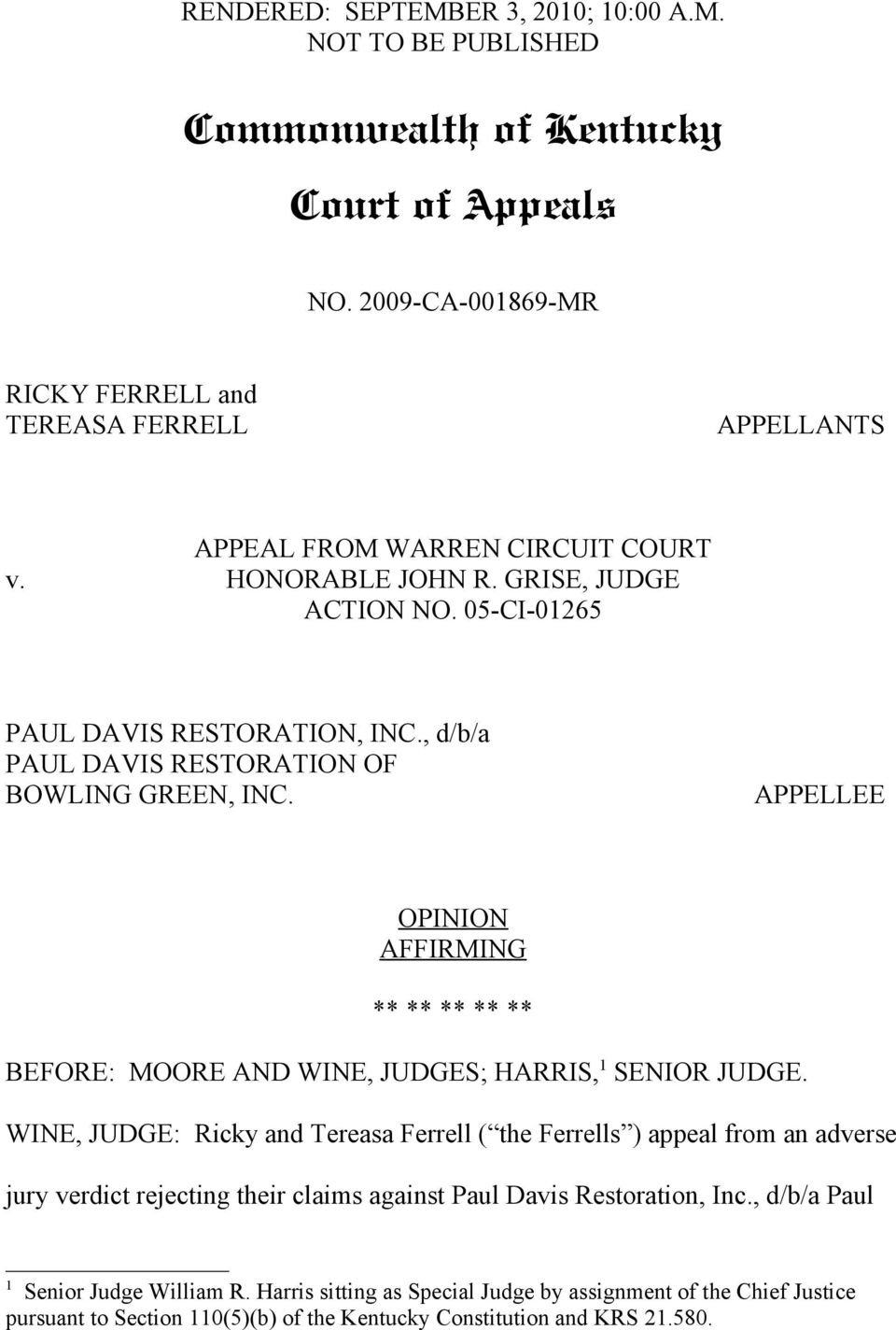 Commonwealth of Kentucky Court of Appeals - PDF