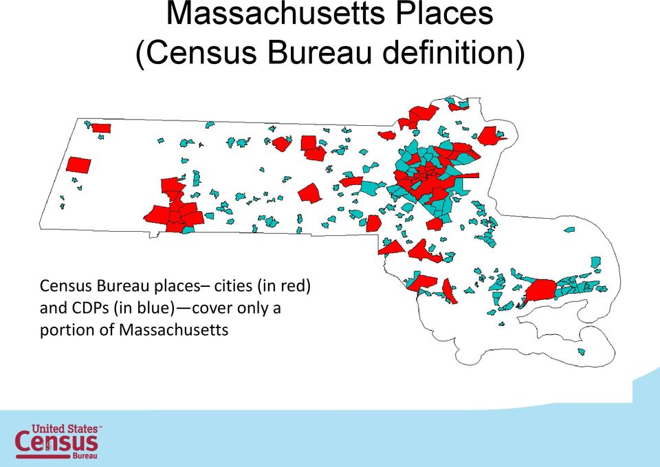 cities (in red) and CDPs (in blue)