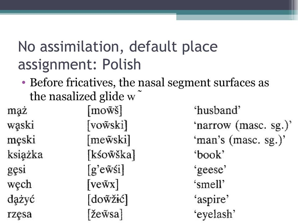 Before fricatives, the nasal