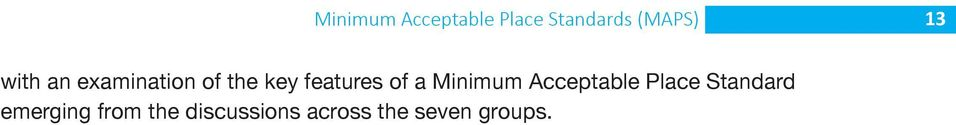 Minimum Acceptable Place Standard emerging