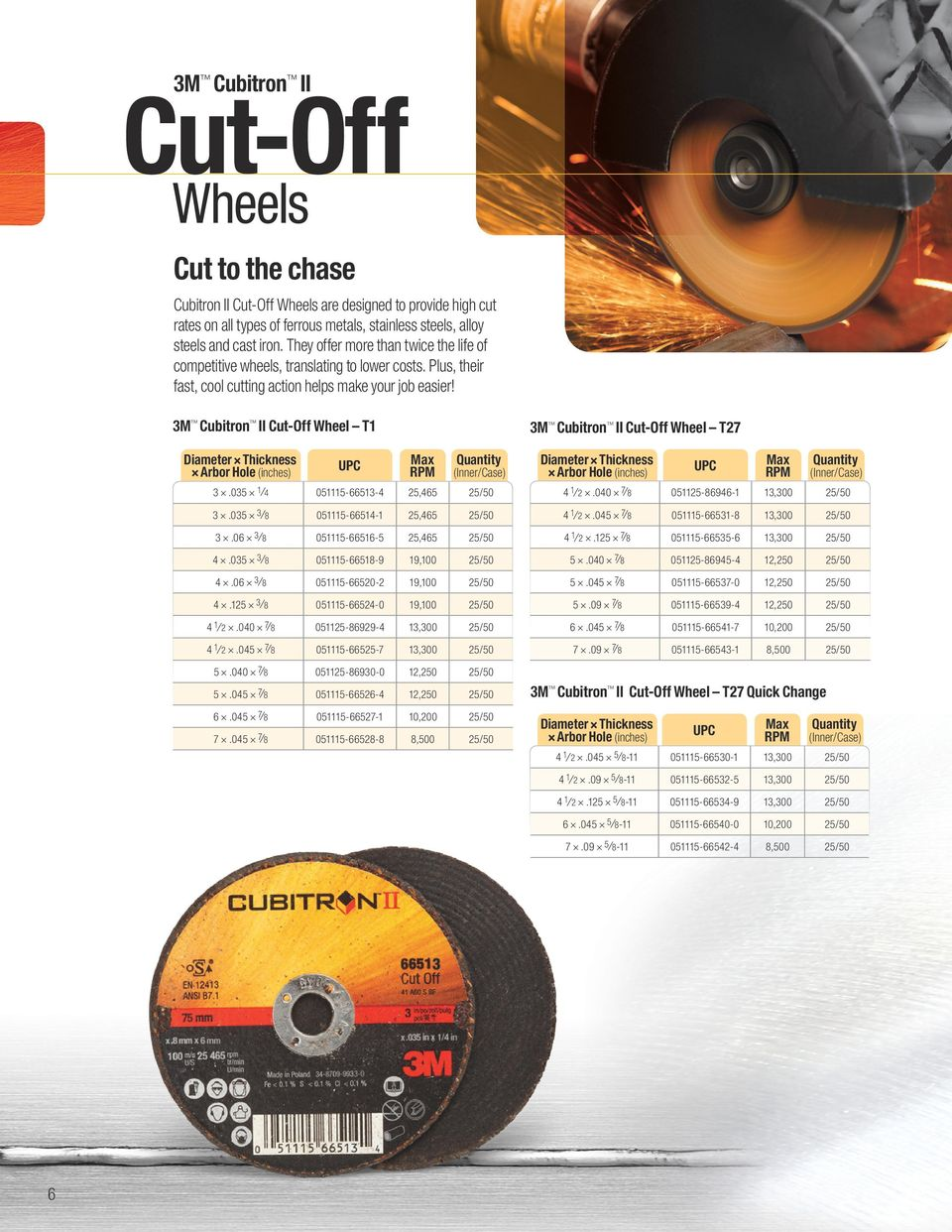 3M Cubitron II Cut-Off Wheel T1 6 3M Cubitron II Cut-Off Wheel T27 3.03 1 4 0111-6613-4 2,46 2/0 4 1 2.040 7 8 0112-86946-1 2/0 3.03 3 8 0111-6614-1 2,46 2/0 4 1 2.04 7 8 0111-6631-8 2/0 3.