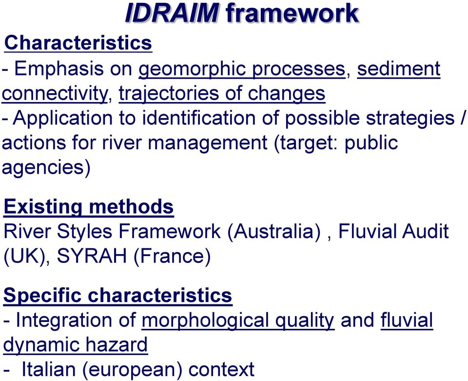 public agencies) Existing methods River Styles Framework (Australia), Fluvial Audit (UK), SYRAH (France)