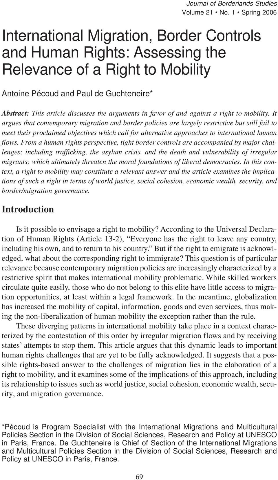arguments in favor of and against a right to mobility.