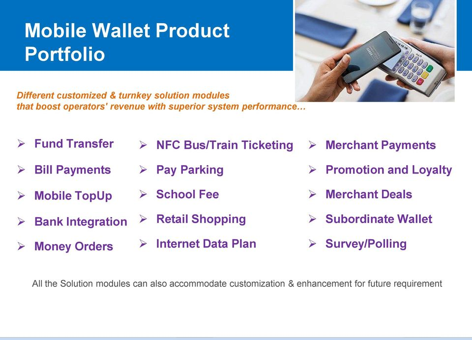 Ticketing Pay Parking School Fee Retail Shopping Internet Data Plan Merchant Payments Promotion and Loyalty Merchant