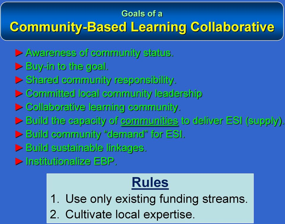 Build the capacity of communities to deliver ESI (supply). Build community demand for ESI.