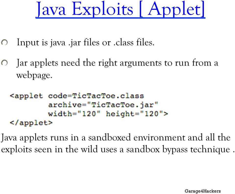 ! Jar applets need the right arguments to run from a webpage.