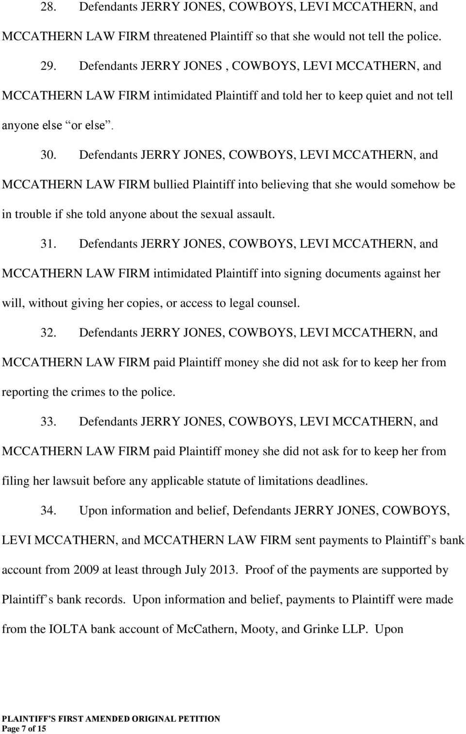Defendants JERRY JONES, COWBOYS, LEVI MCCATHERN, and MCCATHERN LAW FIRM bullied Plaintiff into believing that she would somehow be in trouble if she told anyone about the sexual assault. 31.