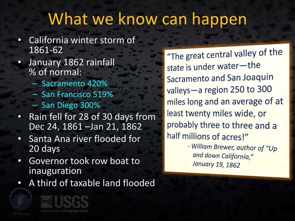 days from Dec 24, 1861 Jan 21, 1862 Santa Ana river flooded for 20 days Governor