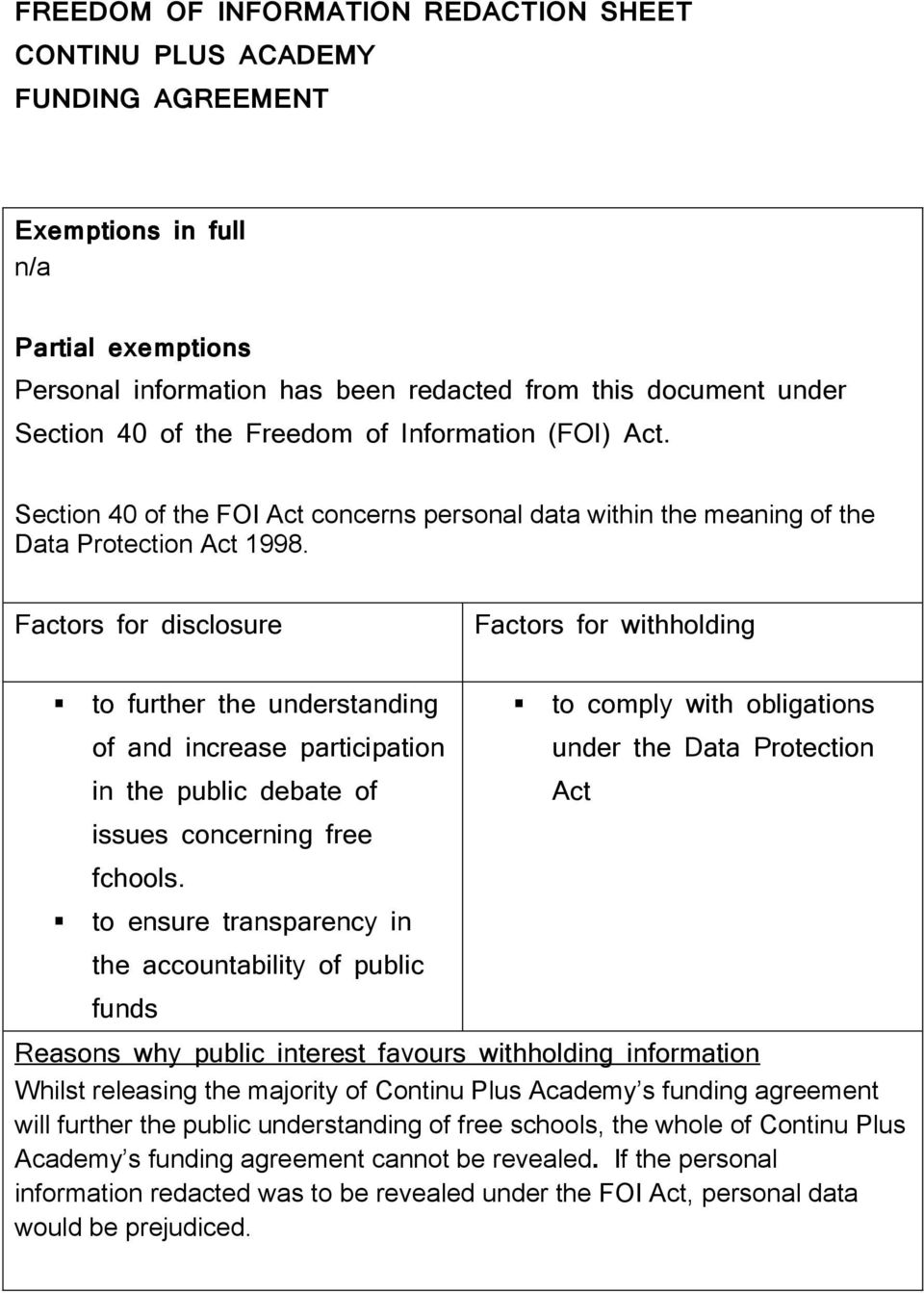 Factors for disclosure Factors for withholding to further the understanding of and increase participation in the public debate of issues concerning free fchools.